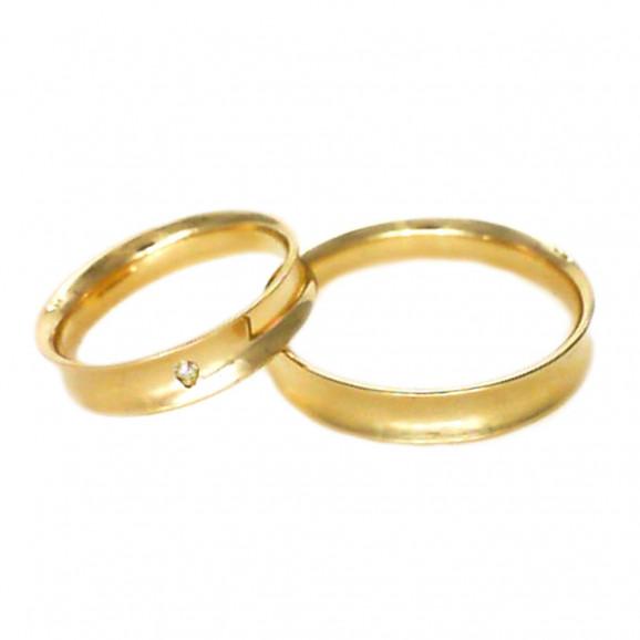 Aliança de Casamento em Ouro Amarelo 18K Côncava com Brilhante