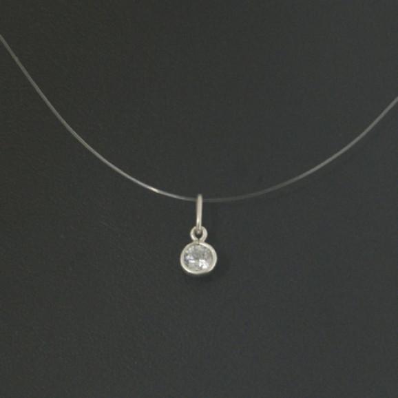 Pingente Ponto de Luz em Prata 950 com Zircônia em Fio de Nylon
