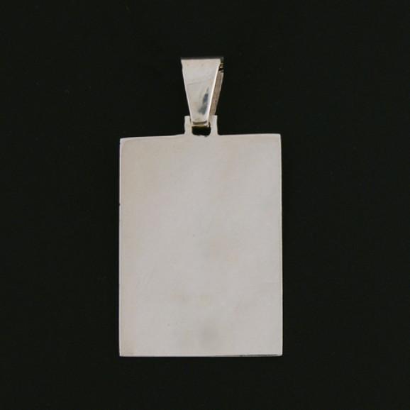 Pingente Masculino em Prata 950 Placa Retangular