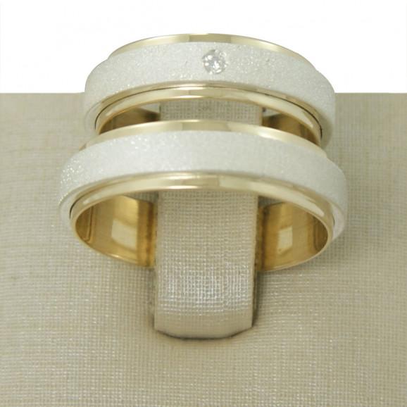 Aliança de Compromisso em Prata 950 com Ouro Amarelo