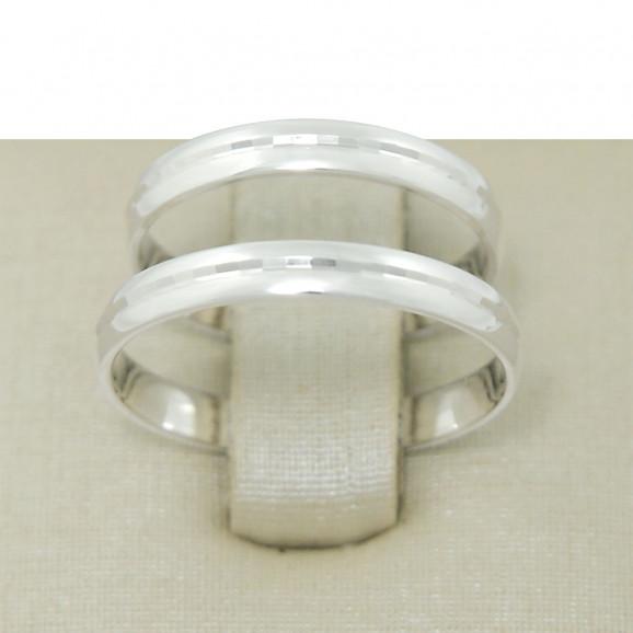 Aliança de Compromisso em Prata 950 com Friso Espelhado