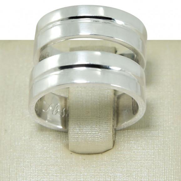 Aliança de Compromisso em Prata 950 Reta com Friso