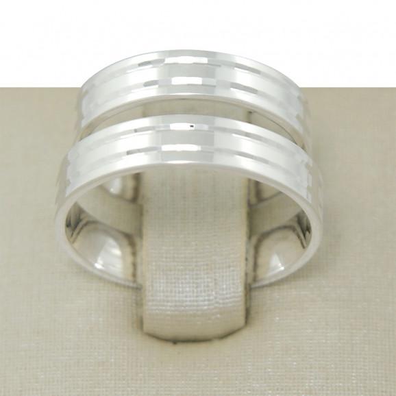 Aliança de Compromisso em Prata 950 Reta com Frisos Espelhados