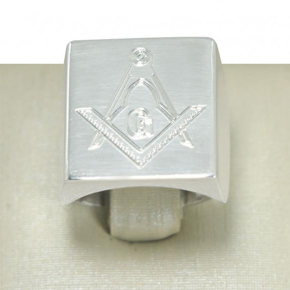 Anel Masculino em Prata 950 com Símbolo da Maçonaria Envelhecido