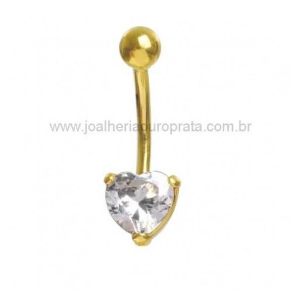 Piercing de Umbigo em Ouro Amarelo 18K com Zircônia de Coração