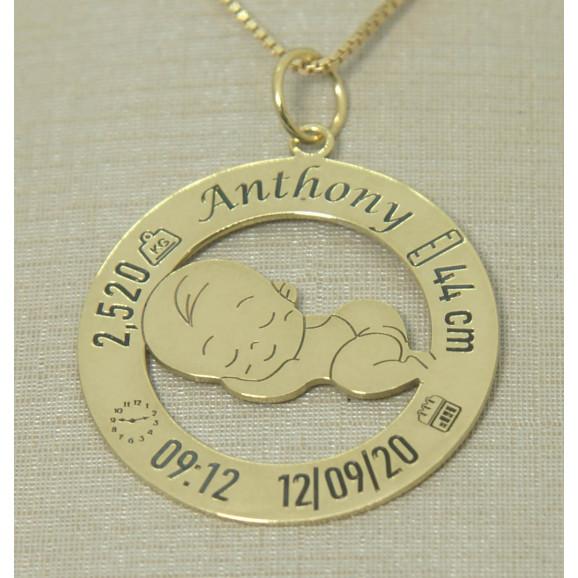 Pingente em Ouro 18k Dados do Nascimento Bebê