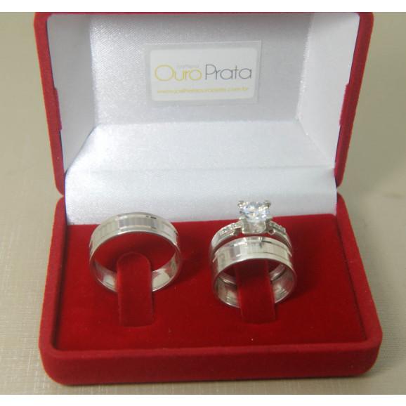 Kit Par Aliança em Prata 950 Diamantada com Friso e Solitário