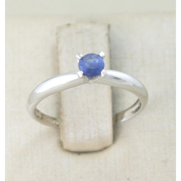 Anel Solitário em Prata 950 com Safira Azul Sintética