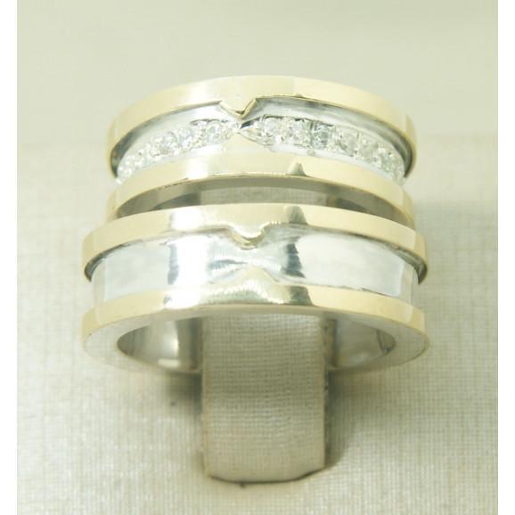 Aliança de Casamento em Prata 950 e Ouro Amarelo 18K  com Zircônia