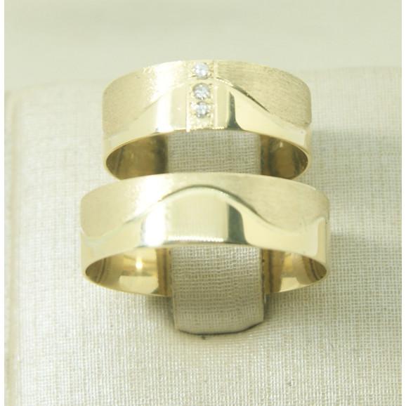Aliança de Casamento em Ouro Amarelo 18K com Brilhante