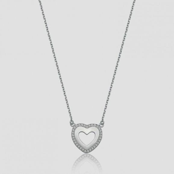Corrente em Prata 950 Cartier em Coração com Zircônia