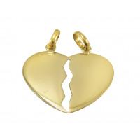 Pingente em Ouro Amarelo 18K Coração Cara Metade