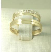 Aliança de Casamento em Ouro Amarelo 18K com Friso e Brilhante