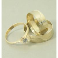 Conjunto Aliança de Casamento com Anel Solitário em Ouro Amarelo 18k com Brilhante e Zircônia