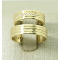 Aliança de Casamento em Ouro Amarelo 18K Semianatomica com Diamante