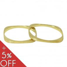 Aliança de Casamento em Ouro Amarelo 18K Quadrada