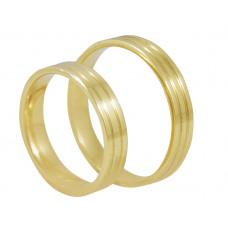 Aliança de Casamento em Ouro Amarelo 18K Reta com Frisos