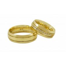 Aliança de Casamento em Ouro Amarelo 18K com Frisos e Brilhantes