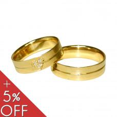 Aliança de Casamento em Ouro Amarelo 18K Reta com Friso e Coração com Brilhantes