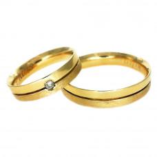 Aliança de Casamento em Ouro Amarelo 18K Reta com Friso e 1 Ponto de Brilhante