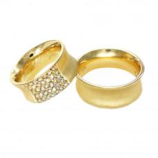 Aliança de Casamento em Ouro Amarelo 18K Côncava com Brilhantes