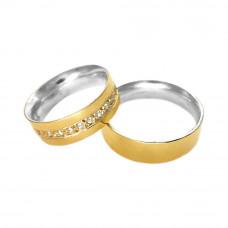 Aliança de Compromisso em Prata 950 e Ouro Amarelo 18K Reta com Zircônias