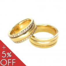 Aliança de Casamento em Ouro Amarelo 18K Saturno com Brilhantes