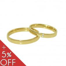 Aliança de Casamento em Ouro Amarelo Tradicional com Brilhantes