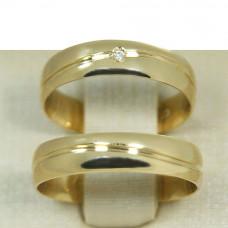 Aliança de Casamento em Ouro Amarelo 18K com Friso Ondulado e Brilhante