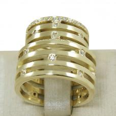 Aliança de Casamento em Ouro Amarelo 18K Reta Vazada com Brilhantes