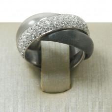 Anel Feminino em Prata 950 Cartier com Zircônias e Ródio Negro