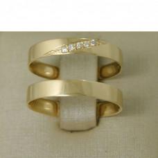 Aliança de Casamento em Ouro Amarelo 18K com Brilhantes