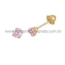 Brinco Infantil em Ouro Amarelo 18K com Zircônia Rosa