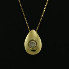 Pingente Ponto de Luz em Ouro Amarelo 18K Gota com Brilhante