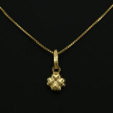 Tornozeleira em Ouro Amarelo 18K com Pingente de Trevo