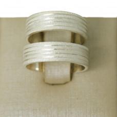Aliança de Compromisso em Prata 950 com Frisos Diamantado