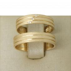 Aliança de Casamento em Ouro Amarelo 18K com Frisos Diamantado e Brilhantes