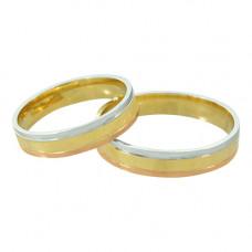 Aliança de Casamento em Ouro Amarelo, Ouro Branco e Ouro Vermelho