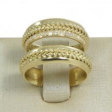 Aliança de Casamento em Ouro Amarelo 18K com Fios Trançados e Brilhantes