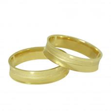 Aliança de Casamento em Ouro Amarelo 18K Côncava com Friso Diamantado