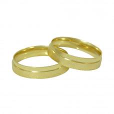 Aliança de Casamento em Ouro Amarelo 18K Reta Sobreposta