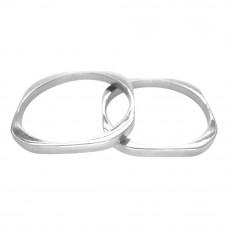 Aliança de Casamento em Ouro Branco 18K Quadrada