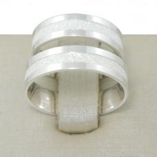 Aliança de Compromisso em Prata 950 Reta com Friso Diamantado