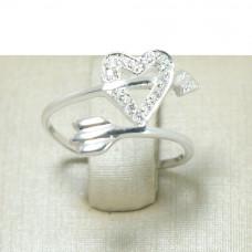 Anel de Falange em Prata 950 Coração com Zircônias