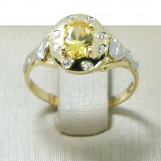 Anel de Formatura em Ouro Amarelo 18K com Pedra Sintética e Brilhantes