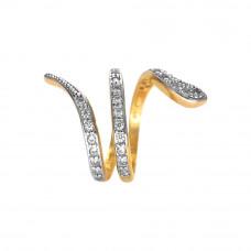 Anel Feminino em Ouro Amarelo 18K Cobra com Brilhantes