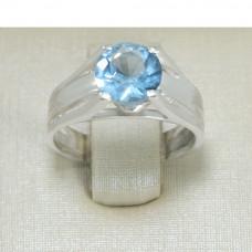 Anel Solitário em Prata 950 com Zircônia Azul