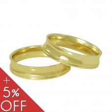 Aliança de Casamento em Ouro Amarelo 18K Côncava