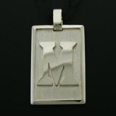 Pingente Masculino em Prata 950 Placa com Letra