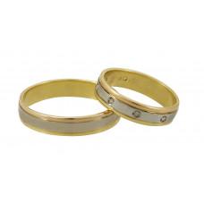 Aliança de Casamento em Ouro Amarelo, Ouro Vermelho e Ouro Branco com Brilhantes